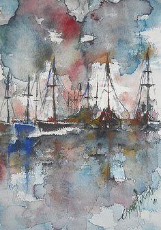 Bateaux au port dans la soirée