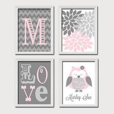Monogram Child Name Pink Gray Grey Owl Chevron Flower LOVE Child Nursery Print Artwork Set of 4 Prints Girl WALL Decor ART Picture on Etsy, $35.00