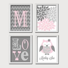 Monogram Child Name Pink Gray Grey Owl Chevron Flower LOVE Child Nursery Print Artwork Set of 4 Prints Girl WALL Decor ART Picture on Etsy, $35.00