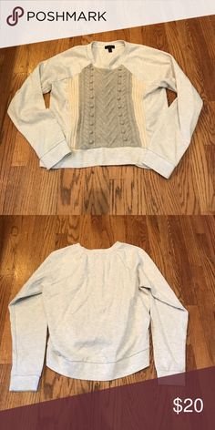 "J. Crew Sweatshirt/Sweater Gray J. Crew Sweatshirt/Sweater w/ cream & grey colored sweater across the front. Fun/Unique item.💕 In good used condition. Size M. Measures 21"" pit to pit.😉 J. Crew Sweaters Crew & Scoop Necks"
