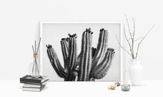Cactus Print Black and White Prints Desert by LuxeArtPrints