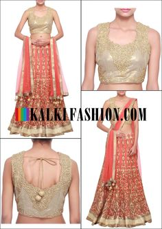Get this beautiful lehenga here: http://www.kalkifashion.com/orange-net-lehenga-embroidered-in-gotta-patti-only-on-kalki.html Free shipping worldwide.