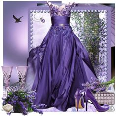 LAVENDER DREAMS by anneanton on Polyvore featuring JustFabulous, BCBGMAXAZRIA, Blue Nile, ElizabethW and Wedgwood