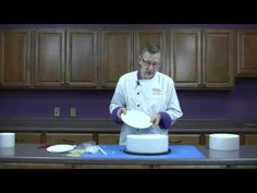 Supporting a tiered cake with GSA Polydowels by Chef Alan Tetreault of Global Sugar Art