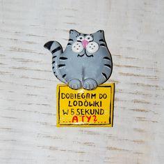 Magnes na lodówkę, magnes, magnes hendmade, magnes kot, magnes dla wielbicieli kotów, magnes głodny kot, gohart