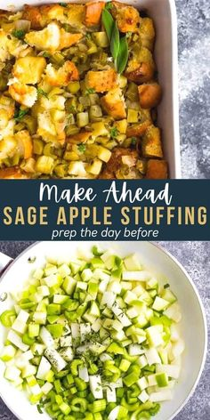 This make ahead sage apple stuffing can be prepared a day in advance for an easy and delicious Thanksgiving side dish. With so much flavor from the fresh herbs, apple and aromatics, this recipe is twice baked for a fun twist on an old classic. #sweetpeasandsaffron #thanksgiving #stuffing #christmas Slow Cooker Recipes, Beef Recipes, Salad Recipes, Chicken Recipes, Healthy Recipes, Best Dinner Recipes, Holiday Recipes, Holiday Foods, Amazing Recipes