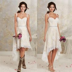 2016 Vintage High Low Country Wedding Dresses Cheap New Sexy Spaghetti Lace Tea length Short Detachable Skirt Bohemian Bridal Gowns Rustic Bridal Dresses Short Lace Wedding Dress, Country Wedding Dresses, New Wedding Dresses, Bridal Lace, Bridal Dresses, Lace Dress, Bridesmaid Dresses, Dress Long, Short Country Wedding Dress