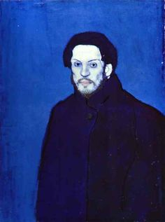 Self Portrait by Pablo Picasso, a Spanish painter and co-founder of the Cubist movement who lived between 1881 and 1973. The portrait of a  young man who seems old beyond his years. He is, without doubt, parodying one of Van Gogh's self-portraits with this air of austerity and a heightened sense of the macabre.