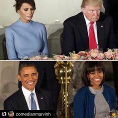 Picture says so much. Trump and Obama Michelle Obama, Barack Obama Family, Obamas Family, Presidente Obama, Melania Trump, Our President, Humor Grafico, Portraits, Thing 1