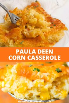 NEW Off the charts delicious this Paula Deen Corn Casserole is one of my family's favorite side dishes EVER! A Creamy Corn Casserole that's perfect with almost everything and just may become the most frequently demanded dish at your table! Creamy Corn Casserole, Easy Casserole Recipes, Paula Dean Corn Casserole, Paula Deen Broccoli Casserole, Corn Cassarole, Cornbread Chicken Casserole, Bean Dip Recipes, Potato Recipes, Veggie Dishes