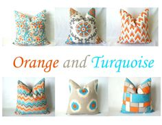 Turquoise Orange Euro Sham - One, 22 x 22, 24 x 24, 26 x 26, Mix & Match Pillow Covers, Chevron Ikat Medallion Geometric, Aqua Orange Pillow