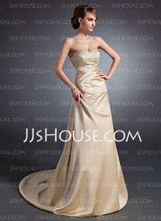 A-Line/Princess Sweetheart Court Train Satin Wedding Dress With Embroidery Ruffle Beadwork Sequins (002015130)