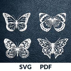FOUR designs SVG / PDF cut file, Paper Cutting Template, Butterflies collection, papercut, diy proje Butterfly Template, Butterfly Crafts, Butterfly Art, Crown Template, Butterfly Mobile, Heart Template, Flower Template, Paper Cutting Patterns, Paper Cutting Templates
