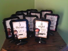 Organizing Math Stations in your classroom - math station table signs and more