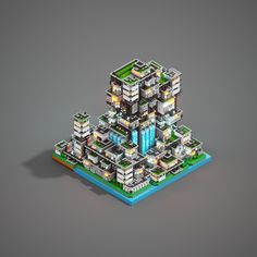 Water City - Voxel Art Animation on Behance Mojang Minecraft, Minecraft Designs, Minecraft Creations, Minecraft Projects, Cool Minecraft, Minecraft Houses, Futuristic Home, Pixel Games, Isometric Art
