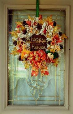 Fall Wreath with Sign for Front Door, White Fall Wreath, Happy Harvest Sign. Fall Foliage Wreath, Fall Door Decor, Pinecone Wreath, Autumn Handmade Home Decor, Handmade Shop, Etsy Handmade, Handmade Gifts, Fall Door Decorations, Fall Decor, Thanksgiving Decorations, Autumn Wreaths, Wreath Fall