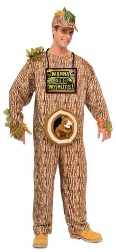 Forum Novelties Men's Wanna See My Nuts Costume Wanna see my nuts costume includes hat, sign, and jumpsuit with attached stuffed squirrelTree print with attached green leavesStandard size fit… Funny Costumes, Baby Costumes, Cool Costumes, Adult Costumes, Costume Ideas, Halloween Costume Fails, Group Halloween, Halloween Stuff, Diy Halloween
