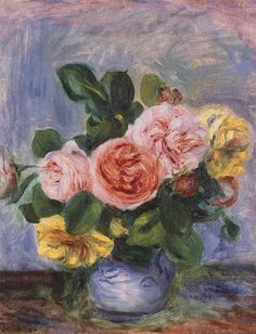 Roses in a Vase ~ Pierre-Auguste Renoir ~ (French: 1841-1919)