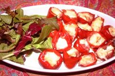 Fireball Cherry Peppers Stuffed With Prosciutto and Brie Appetizer Recipes, Appetizers, Sweet Cherries, Antipasto, Prosciutto, Brie, Caprese Salad, Recipies, Cherry