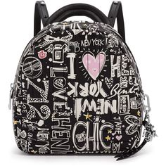 Henri Bendel 712 Graffiti Print Backpack ($378) ❤ liked on Polyvore featuring bags, backpacks, graffiti print, convertible backpack shoulder bag, shoulder hand bags, leather zipper pouch, convertible backpack and zip pouch
