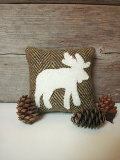 Decorative Balsam Pillow, Rustic Wool Pillow, Cabin Moose Pillow, Brown Pillow, Little Pillow on Etsy, $9.00