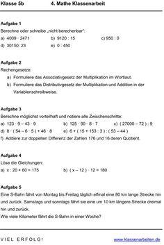 Klassenarbeit zu Gleichungen und Terme