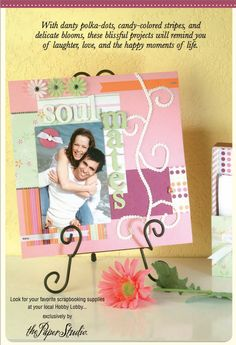 Makes a soulmates-themed scrapbook page, perfect for displaying at a bridal shower or wedding or even around the house.