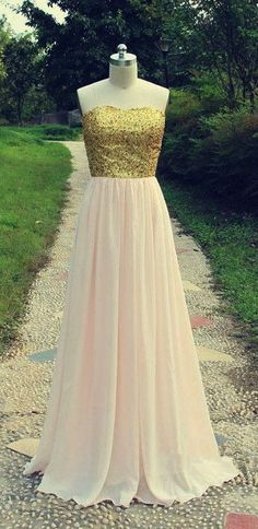 Gold Sequins Long Prom Dresses 2015