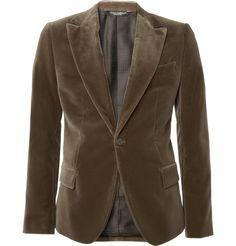camel-brown velvet blazerby dolce & gabbana