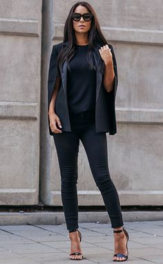 Johanna Olsson proves you can never wear too much black - these skinnies are perfectly complemented with a black tee and jacket. Shoes: La Strada, Jeggings: River Island, Tee: River Island, Jacket: Pearl and Rubies