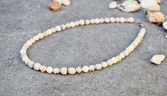 Natural Jewelry, Pearl Necklace, Nuts & Sea Shell Necklace, Boho Beach Bohemian Jewelry, Nature Beads, Rustic Wedding, White Beaded Necklace