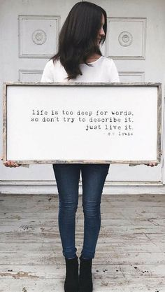 Life is too deep for words, so don't describe it, just live it | C.S. lewis quote | Farmhouse Sign | Modern Farmhouse decor, Rustic sign, rustic decor, inspirational wall decor, home decor, gift idea #ad