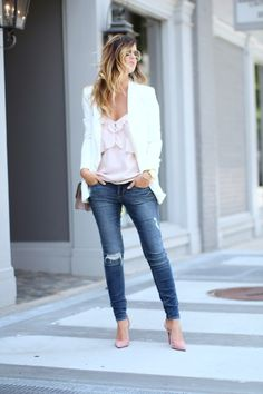 Blazer: Express c/o | Top: Express c/o | Jeans: Articles of Society | Handbag: Valentino | Shoe...