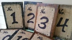 Rustic table numbers from repurposed pallet wood