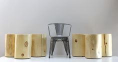 """""""Rescued"""" Tree Stump Tables with exterior seal... perfect for patio, deck, garden seat, side table and modular indoor/outdoor use. From Real Wood Works...."""