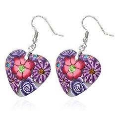 Heart Handcrafted Floral Cane Work Clay & CZ Earrings ~ Three Lively Colors to Choose From
