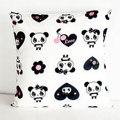 14 x 14 Sweet Heart Panda Throw Pillow Cover. $16.00, via Etsy.