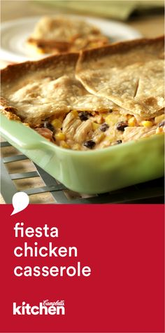 This crowd-pleasing, kicked-up casserole couldn't be easier. Using canned chicken, Campbell's® Soup, corn, and beans and topped with a refrigerated pie crust, this Fiesta Chicken Casserole recipe is simply delicious!
