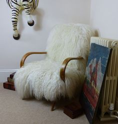Sheepskin chairs, Designer armchairs and Sheep skin chair, Upholstered in Mongolian wool hardwood frame, Upcycled furniture by Smithers - Ministry of Upholstery £ Ercol Chair, Upholstered Chairs, Knoll Chairs, Arm Chairs, Lounge Chairs, Money For Nothing, Unwanted Furniture, Homemade Rugs, Hotel Lobby Design
