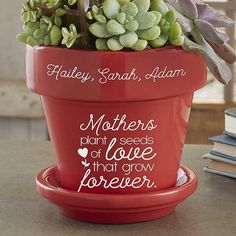 Seeds of Love Personalized Flower Pot for Mom - Red Personalize with children's names around the rim Includes flower pot with drainage hole and saucerFor indoor or outdoor useConstructed of ceramicFlower pot stands Grandmas Mothers Day Gifts, Birthday Gifts For Grandma, Mothers Day Crafts For Kids, Presents For Grandma, Mothers Day Plants, Mothers Day Flower Pot, Flower Pot Crafts, Flower Pots, Mother's Day Projects