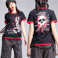 Alternative Men Women Black Skull Punk Rock Emo T Shirt Top Clothing SKU-11409116