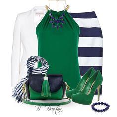 Navy, Green & White