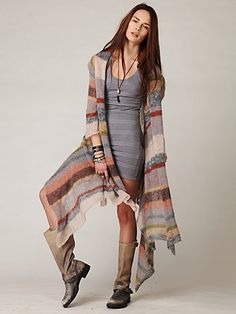 Free People Long Pattern Hooded Cardi | ECLECTIC | Pinterest ...