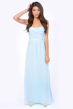 Bridesmaids dresses. LULUS Exclusive Slow Dance Strapless Light Blue Maxi Dress at LuLus.com!