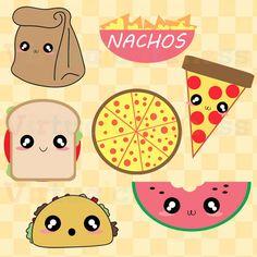Gráfico lindo almuerzo - comida Clip Art, Pizza, Tacos, Nachos, bolsa de papel…