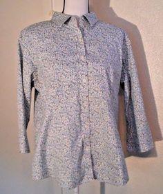 L-L-Bean-Women-039-s-Blouse-Size-L-Cotton-3-4-Sleeve-Button-Down-Floral-Spring