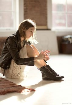 moto jacket, lace dress and black lace up booties. Belle Lingerie, Street Style, Street Chic, Fashion Beauty, Womens Fashion, Female Fashion, Lace Up Booties, Models, Spring Summer Fashion