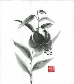 """Original Art """"Lily in the sun"""" - in Japanese style - sumi-e drawing with wash ink - Wall decor - bamboo brash on rice paper"""