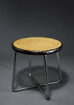 Anonymous; #B77 Chromed Metal, Lacquered Wood and Cane Stool by Thonet, 1932.