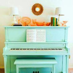 Turquoise piano! Love it! :)